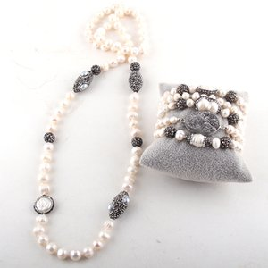 RH Fashion Jewelry Set Pearl Beads Knotted Handmake Paved Freshwater Pearl Necklace and Bracelet Set For Women Jewelry Z1201