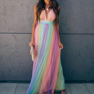 Pleated Off Shoulder Mesh Womens Slip Dress Deep V neck Rainbow Colors Ankle length Female Dresses Sexy Party Ladies Clothes