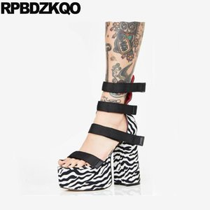 goth chunky 10 big size black and white open toe gladiator women high heel shoes gothic platform boots punk sandals demonia