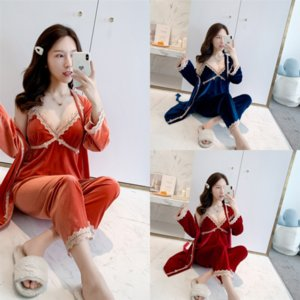 FVR JRMISSLI Womens 잠옷 SleepwearAutumn 여성 레이디 실크 잠옷 숙녀 Pijamas 홈 코튼 잠옷