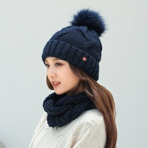 Knitted Winter Hat and Scarf Set Women Thick Warm Beanies Hat Scarf Female For Girls Pom Pom Beain Hats solid color