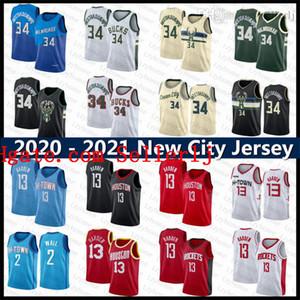 Giannis 34 Antetokounmpo James 13 Harden Allen John 2 Duvar HoustonRoketMilwaukeeBucks City Blue Edition Basketbol Forması
