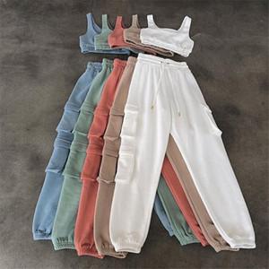 Solid Sportswear Tank Top e Sweatpants Dois Pedações Conjuntos Mulheres Sem Mangas Treino Casual Loungewear Pocket Tracksuits