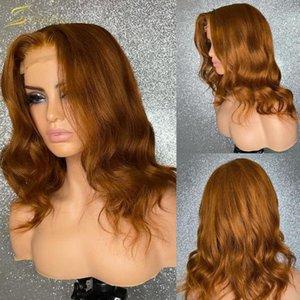 Pacotes de onda corporal com mel frontal cor loira perucas de cabelo humano marrom hd transparente ondulado 13x6 perucas dianteiras cheias