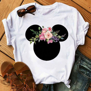 Women Cartoon Printed Graphic Flower Fashion T-Shirt Mouse Micky Ear Shirt Tumblr Tee Hipster Female T Shirt Woman Tees