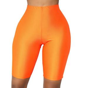 Femmes haute taille Yoga shorts fluorescence rose rose noir brillant shorts maigre shorts leggings sport gym gym fitness 270031