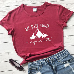Eat Sleep Travel Repeat Mountains t Shirt hiking women fashion graphic funny grunge tumblr young hipster tees slogan tops L358