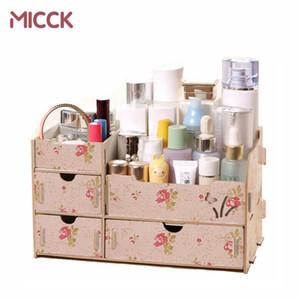 Micck de madera caja de almacenamiento maquillaje organizador caja hecho a mano joyería organizador contenedor DIY montaje contenedor para almacenamiento cosmético Z1123