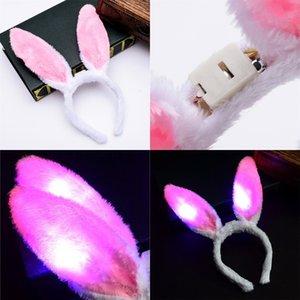 Peluche Orejas de conejo Pelo Hoop Concierto Vocal Luminescence Head Hoops Partido Luz Flash Headwear Nueva llegada 1 89DC L1