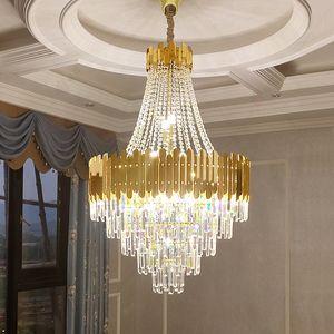 Grande lampadario di cristallo in Duplex Building Building Luxury Hotel Hall Engineering Villa Living Room Chandelier