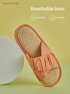 YouDiao Biancheria per le pantofole per donna scarpe da pavimento Scivoli estivi per interni slittamento domestico muto pantofola morbido sandali rosa antiscivolo antiscivolo cross-legato
