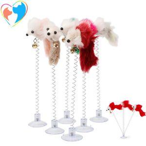 Furry Cat Toys красочные перья хвосты мыши игрушки для кошек маленькие милые игрушки домашних животных смешные качели весенние мышей с присокой YHM249