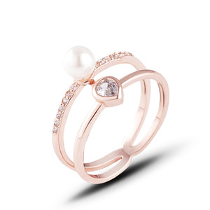 Fashion Jewelry Ring Metal Copper Hollow Double Circle Clear Diamond Zircon With Pearl Ring for Wome Jewelry Gift Size 6-9