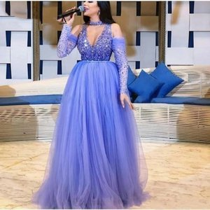 Modest Formal Arabic Evening Dresses Long Sleeves A-Line Beaded Crystal Sexy V-Neck Purple Prom Gowns Lady Party Dress Robe De Soiree