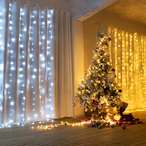 600LED Window Curtain String Fairy Light Wedding Christmas Party Decor(Warm White) Top-grade material Strings lighting Fast delivery