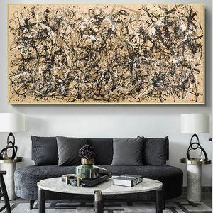 Ünlü Tablolar Sanat Jackson Pollock Özet Sonbahar Tuval Posters Boyama ve Baskılar Duvar Resimleri Ev Dekorasyonu Modern Minimalism Stil