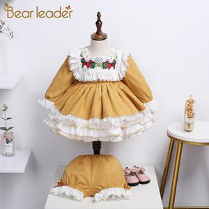 Urso Leader Girls Festa Costumes 2020 Nova Moda Crianças Bordado Vestidos Crianças Fancy Inglaterra Estilo Vestido Bebê Princesa Ternos J1205