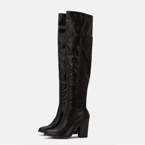 Autumn Winter Women Thigh High Boots Pu Leather High Heels Over The Knee Long Boots Platform Zipper Waterproof Ladies Shoes