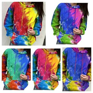 Women Sweater Pullover Designer Tie-dye Long Sleeve Hoodies Hooded Tops Jacket Coat Ladies Autumn Winter Fashion Sweatershirt E120408