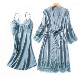 Silky Women Silk Robe Gown Set Summer Sexy Lace Trim Women Sleepwear Dress Elegant Woman Pajamas Casual Bathrobe Sets1