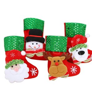 HOT Christmas Hanging Socks Cute Candy Gift bag snowman santa claus deer bear Christmas Stocking for Decorative Socks Pendant DB260