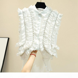 2020 Black And White Casual Off Shoulder Ruffles Blouse Women Lapel Sleeveless Pearl Oversize Shirt Female Spring Fashion New