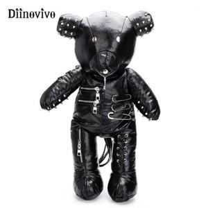 Diinovivo Rivet медведь рюкзак женский большой панк личности рюкзаки для женской школы сумка на молнии задний пакет подарок whdv06591