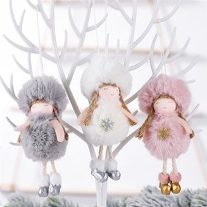 Christmas Plush Angel Pendant 16*6cm Christmas Tree New Year Hanging Angel Ornament Girl Kids Plush Angel Doll Gift