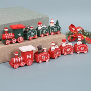 Wooden Noël Train Snowman Bear Mini Train Decor Ensemble Train De Noël Ornement Jouets Décorations Accueil Décor EWA2488