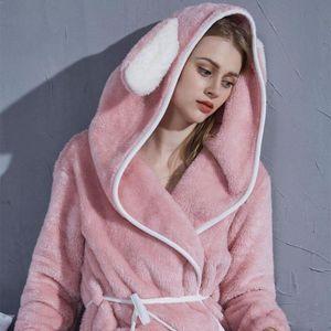 Winter Sleepwear Warm Robe Women's Hoodie Robes Flannel Bathrobe Home Clothes for Women Cute Nightgown Pink Plush Dressing Gown
