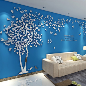 3D Tree Acrylic Mirror Wall Sticker Decals DIY Art TV Background Wall Poster Home Decoration Bedroom Living Room Wallstickers 201106