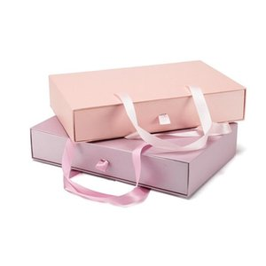 50pcs 33*21*6.5cm Portable Folding Paper Gift Box Clothing Scarf Bra Underwear Packaging Box with Handle wen6191