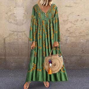 Autumn Women Plus Size Dress Print Cotton Linen Long Sleeve V neck Long Loose Dress Party Maxi Dresses vestidos de festa 2020