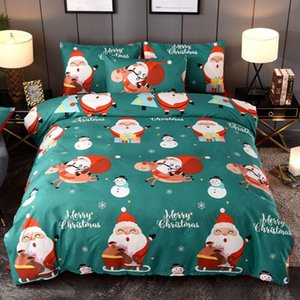 3 Pcs Christmas Duvet Cover With Pillowcase Bed Quilt Covers Santa Claus Pattern Queen King Twin New Year Sleeping Bedding Set