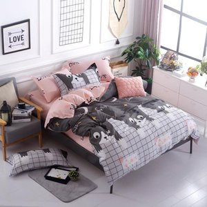 Blue pink gray cartoon   Simple size 4pcs Bedding sets Cotton bed sheet +duvet cover + pillowcase -Single or Student bedspread