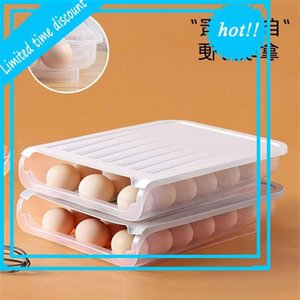 Refrigerator storage with cover Automatic rolling slide Plastic transparent Kan Stack Eend Egg Preservation box
