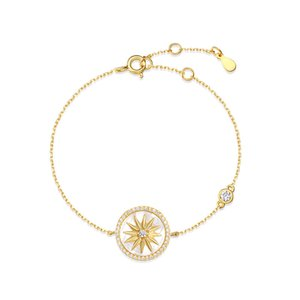 Bracelet designer Sterling Silver women Inlaid All-match Fashion Charm Jewelry White Fritillary Compass Suitable for Social gathering party