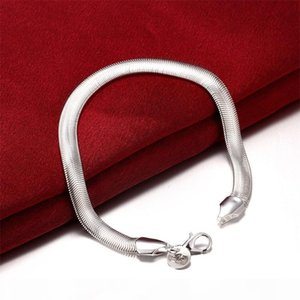 High-K Diamond Ring 100 %Original Jewelry S925 Stamp Solid Silver Bracelet New Trendy 925 Silver Snake Chain Bracelet For Women And Men H164