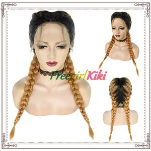 26 inch Black and Gold mix color Braid Wig Double Ponytail Twist Braid synthetic Lace frontal Hand Hook