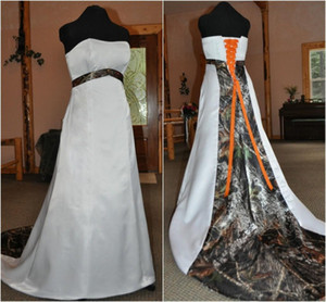 Stapless Satin Wedding Dress with Camo Ideas Sleevess Corset Camo Bridal Dress Gown with Orange Tie A Line Wed Dresses