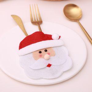 Christmas Cartoon Besteck Set Günstigste Weihnachten Geschirr Set Santa Claus Messer Gabelhalter Party Supplies Desktop Dekoration CCA2719