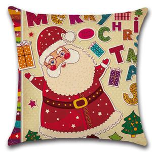 عيد ميلاد سعيد سانتا كلوز وسادة غطاء عيد الميلاد الزخرفية سادة الكتان رمي وسادة القضية غطاء fwe3084