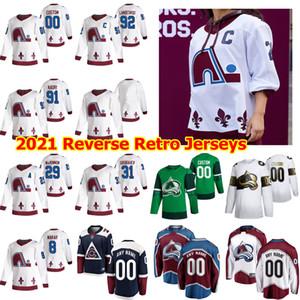 콜로라도 Avalanche 2021 Reverse Retro Hockey Jerseys 81 Vladislav Kamenev 13 Valeri Nichushkin Michael Hutchinson Matt Nieto 사용자 정의 스티치