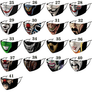 Halloween Christmas clown face mask  fashion face masks printed facemask dustproof windproof Party Masks adult with black mascarilla