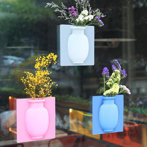 Silikon klebrige Vase Magic Gummi Blume Pflanze Vasen Blumenbehälter für Büro Wandvasen Dekoration Home PPF3675