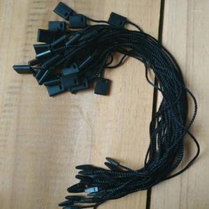 1000pcs, 7 pulgadas Negro / Blanco / Gris Poliéster Cables de ropa para etiquetas Cuerdas duraderas Cuello Tag Plastic Square Strings1