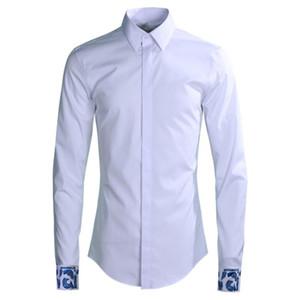 2020 Мужская рубашка Роскошная манжета вышивка партии мужские рубашки мода с длинным рукавом тонкий подходящий человек рубашки плюс размер 4XL вскользь