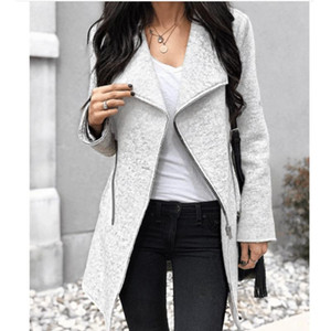 2020 New Women Slim Zipper Slim Outerwear Zippers Fashion Patchwork Coats Female Warm Winter Autumn Irregular Overcoats Clothes