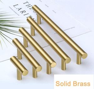 Gold Color Tbar Solid Brass Cabinet Handles Furniture Drawer Pulls Kitchen Cupboard Knobs Pul jllPnF trustbde