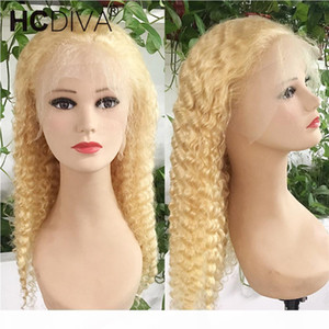 Deep Wave Lace Front Human Hair Wigs 613 Blonde Colored 100% Virgin Peruvian Hair 13x4 Lace Wigs For Women 150% Density